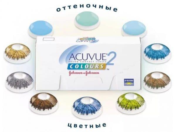 Ассортимент линз Acuvue 2 Colours