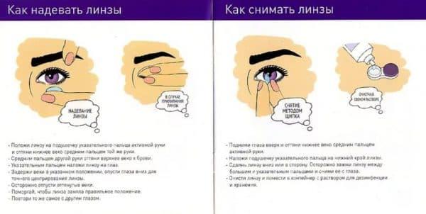 Краткая инструкция для первого надевания и снятия контактных линз