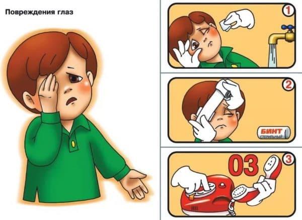 Памятка для помощи детям при травме глаза